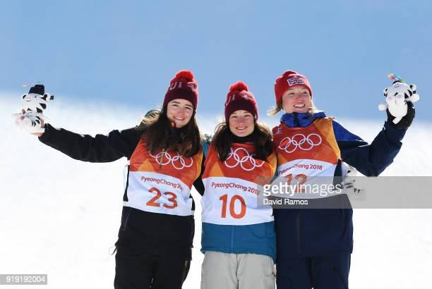 Silver medalist Mathilde Gremaud of Switzerland gold medalist Sarah Hoefflin of Switzerland and bronze medalist Isabel Atkin of Great Britain...