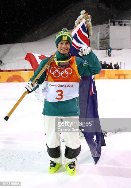Silver medalist Matt Graham of Australia celebrates in the Freestyle Skiing Men's Moguls Final on day three of the PyeongChang 2018 Winter Olympic...