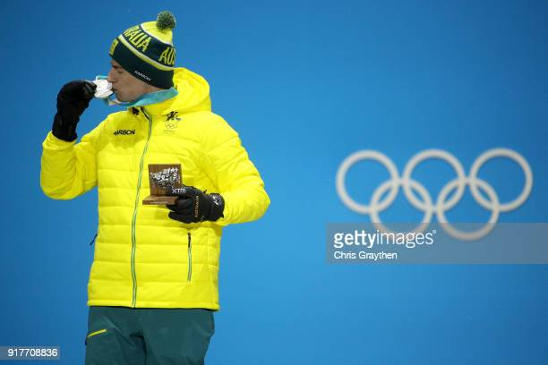 Silver medalist Matt Graham of Australia poses during the medal ceremony for the Freestyle Skiing Men's Moguls on day four of the PyeongChang 2018...