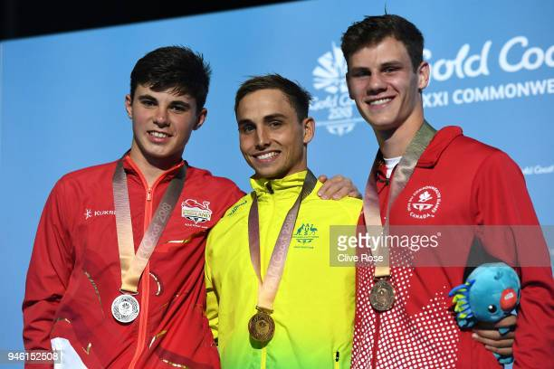 Silver medalist Matthew Dixon of England gold medalist Domonic Bedggood of Australia and bronze medalist Vincent Riendeau of Canada poses during the...