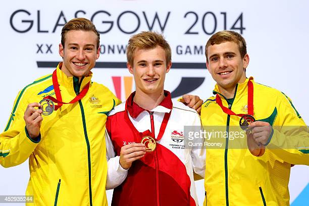 Silver medalist Matthew Mitcham of Australia, gold medalist Jack Laugher of England and bronze medalist Grant Nel of Australia pose during the medal...