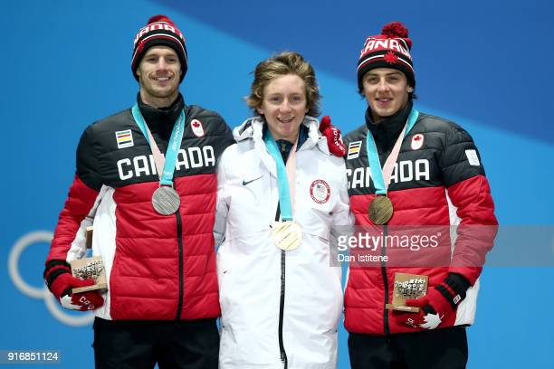 Silver medalist Max Parrot of Canada gold medalist Redmond Gerard of the United States and bronze medalist Mark McMorris of Canada stand on the...