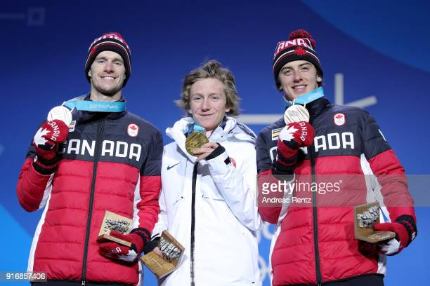 Silver medalist Max Parrot of Canada gold medalist Redmond Gerard of the United States and bronze medalist Mark McMorris of Canada pose on the podium...