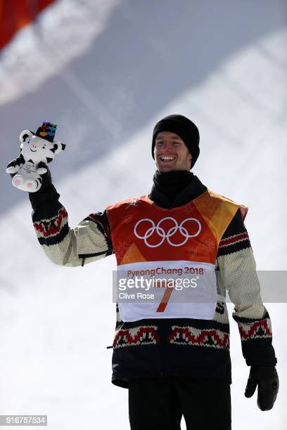 Silver medalist Max Parrot of Canada poses during the victory ceremony for the Snowboard Men's Slopestyle Final on day two of the PyeongChang 2018...