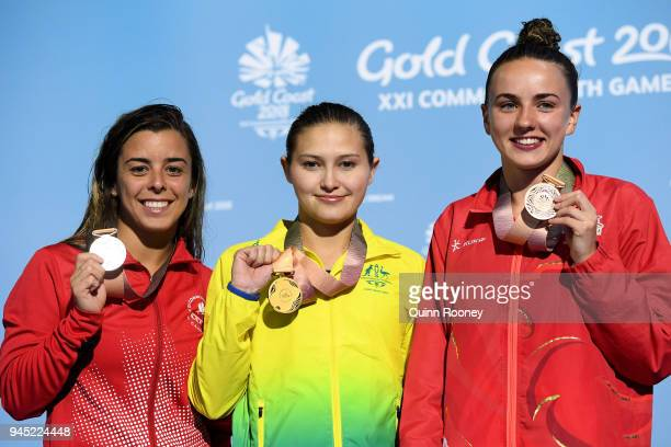 Silver medalist Meaghan Benfeito of Canada gold medalist Melissa Wu of Australia and Lois Toulson of England pose during the medal ceremony for the...