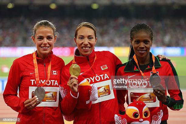 Silver medalist Melissa Bishop of Canada gold medalist Marina Arzamasova of Belarus and bronze medalist Eunice Jepkoech Sum of Kenya pose on the...