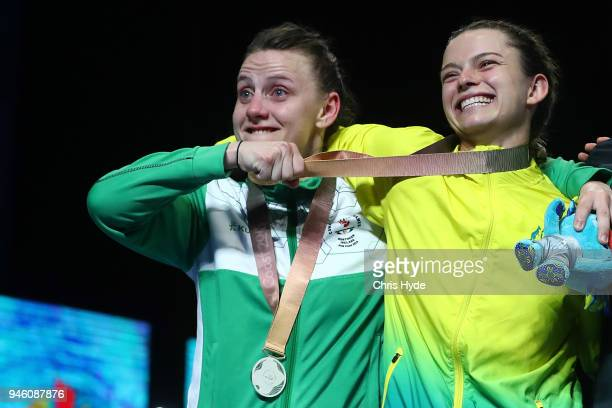 Silver medalist Michaela Walsh of Northern Ireland and Gold medalist Skye Nicolson of Australia during the medal ceremony for the Women's 57kg Final...