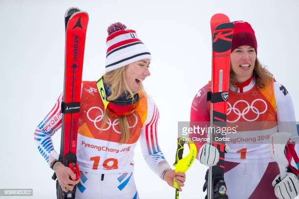 Silver medalist Mikaela Shiffrin of the United States and gold medal winner Michelle Gisin from Switzerland during the Alpine Skiing Ladies' Alpine...