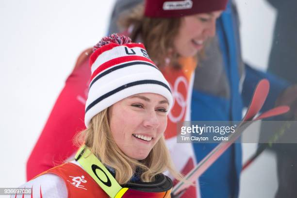 Silver medalist Mikaela Shiffrin of the United States and gold medal winner Michelle Gisin from Switzerland after the Alpine Skiing Ladies' Alpine...