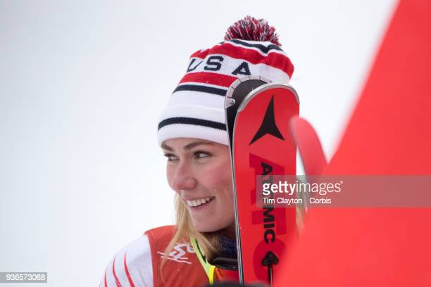 Silver medalist Mikaela Shiffrin of the United States as the result is confirmed during the Alpine Skiing Ladies' Alpine Combined Slalom at Jeongseon...