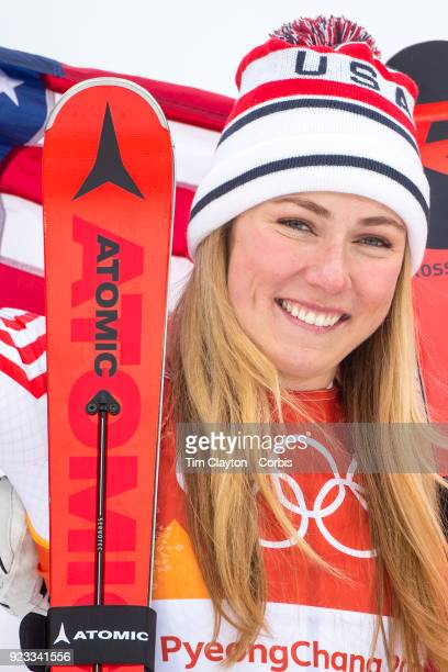 Silver medalist Mikaela Shiffrin of the United States at the presentations after the Alpine Skiing Ladies' Alpine Combined Slalom at Jeongseon Alpine...
