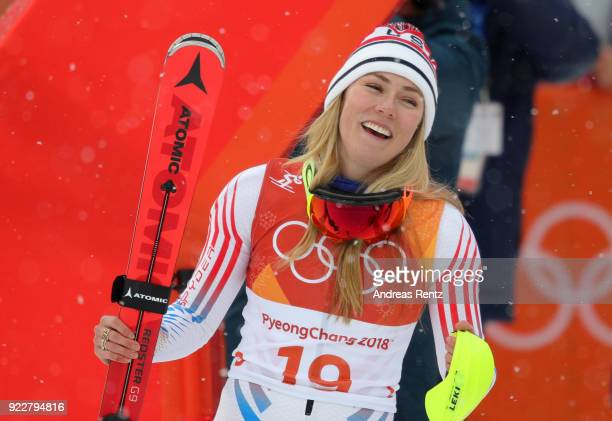 Silver medalist Mikaela Shiffrin of the United States celebrates at the finish during the Ladies' Alpine Combined on day thirteen of the PyeongChang...