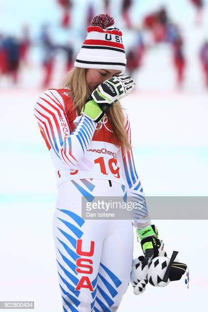 Silver medalist Mikaela Shiffrin of the United States celebrates on the podium during the Ladies' Alpine Combined on day thirteen of the PyeongChang...
