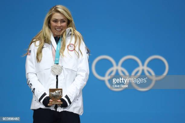 Silver medalist Mikaela Shiffrin of the United States celebrates during the medal ceremony for Alpine Skiing - Ladies' Alpine Combined Slalom on day...