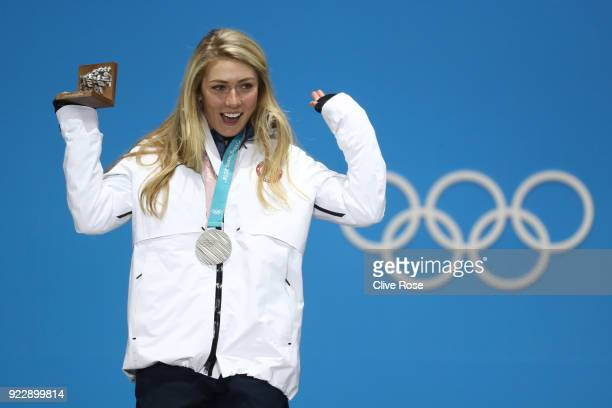 Silver medalist Mikaela Shiffrin of the United States celebrates during the medal ceremony for Alpine Skiing Ladies' Alpine Combined Slalom on day 13...