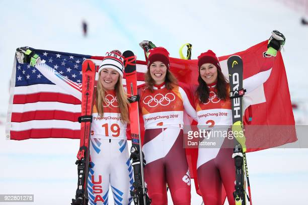 Silver medalist Mikaela Shiffrin of the United States gold medalist Michelle Gisin of Switzerland and bronze medalist Wendy Holdener of Switzerland...
