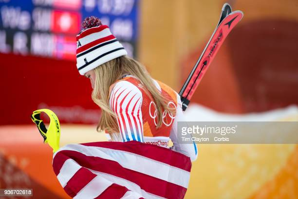 Silver medalist Mikaela Shiffrin of the United States heads from the podium presentations during the Alpine Skiing Ladies' Alpine Combined Slalom at...