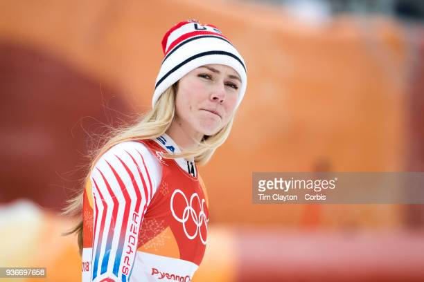 Silver medalist Mikaela Shiffrin of the United States heads to the podium for presentation after the Alpine Skiing Ladies' Alpine Combined Slalom at...