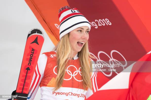 Silver medalist Mikaela Shiffrin of the United States heads to the podium presentations during the Alpine Skiing Ladies' Alpine Combined Slalom at...