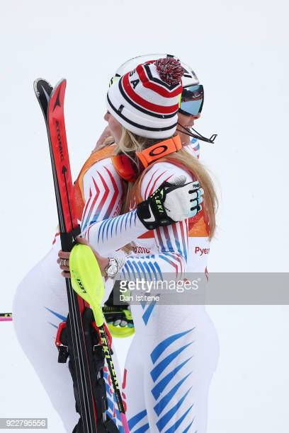 Silver medalist Mikaela Shiffrin of the United States is congratulated by Lindsey Vonn of the United States during the Ladies' Alpine Combined on day...