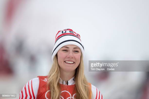 Silver medalist Mikaela Shiffrin of the United States on the podium after the Alpine Skiing Ladies' Alpine Combined Slalom at Jeongseon Alpine Centre...
