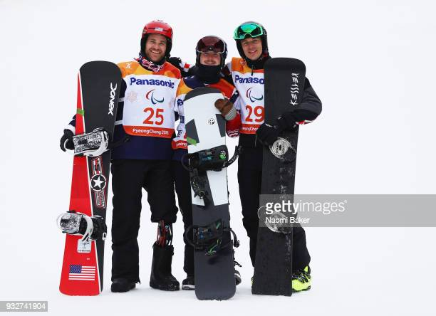 Silver Medalist Mike Schultz of the United States Gold Medalist Noah Elliot of the United States and Bronze medalist Bruno Bosnjak of Croatia pose...