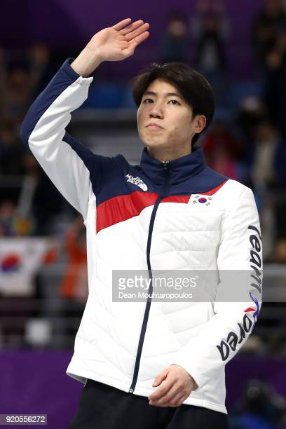 Silver medalist Min Kyu Cha of Korea stands on the podium during the victory ceremony after the Men's 500m Speed Skating on day 10 of the PyeongChang...
