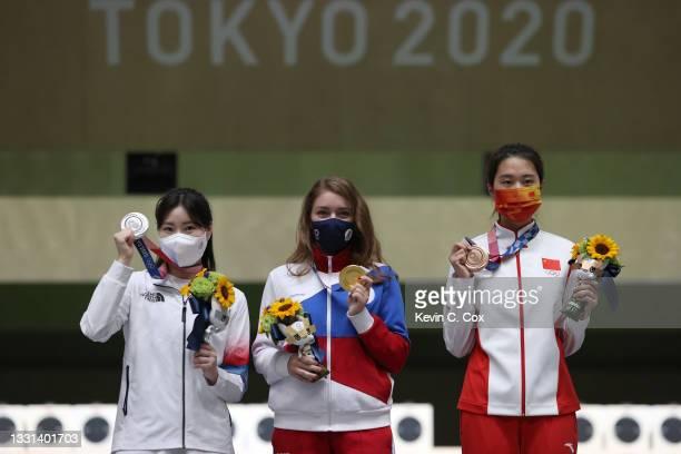 Silver Medalist Minjung Kim of Team South Korea, Gold Medalist Vitalina Batsarashkina of Team ROC, and Bronze Medalist Jiaruixuan Xiao of Team China...