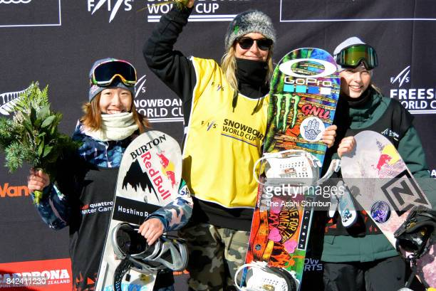 Silver medalist Miyabi Onitsuka of Japan gold medalist Jamie Anderson of USA and bronze medalist Zoi Sadowski Synnott of New Zealand stand on the...