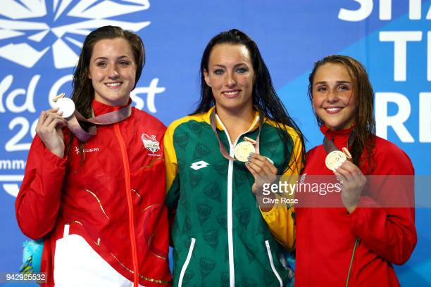 Silver medalist Molly Renshaw of England gold medalist Tatjana Schoenmaker of South Africa and bronze medalist Chloe Tutton of Wales pose during the...