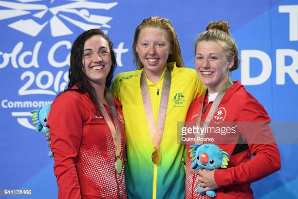 Silver medalist Morgan Bird of Canada gold medalist Lakeisha Patterson of Australia and bronze medalist Abigail Tripp of Canada pose during the medal...
