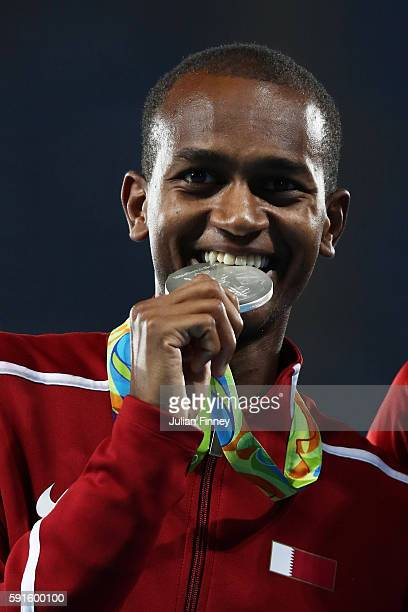 Silver medalist Mutaz Essa Barshim of Qatar poses during the medal ceremony for the Men's High Jump Final on Day 12 of the Rio 2016 Olympic Games at...