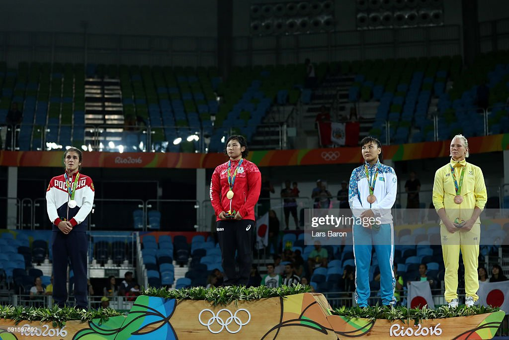 Silver medalist Natalia Vorobeva of Russia, gold medalist Sara Dosho of Japan, bronze medalist Elmira Syzdykova of Kazakhstan and bronze medalist Anna Jenny Fransson of Sweden stand on the podium during the medal ceremony for the Women's Freestyle 69kg event on Day 12 of the Rio 2016 Olympic Games at Caioca Arena 2 on August 17, 2016 in Rio de Janeiro, Brazil.