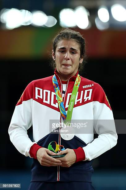 Silver medalist Natalia Vorobeva of Russia stands on the podium during the medal ceremony for the Women's Freestyle 69kg event on Day 12 of the Rio...