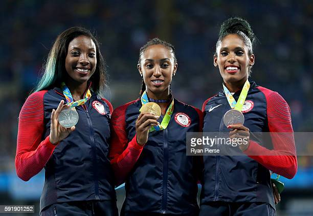 Silver medalist, Nia Ali of the United States, gold medalist, Brianna Rollins of the United States and bronze medalist, Kristi Castlin of the United...