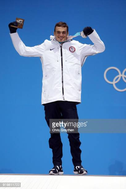 Silver medalist Nick Goepper of the United States celebrates during the medal ceremony for the Freestyle Skiing Men's Ski Slopestyle on day nine of...