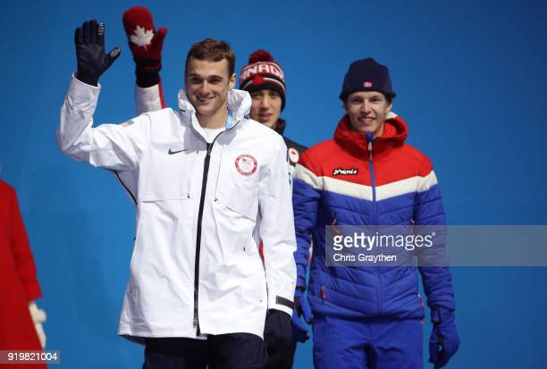 Silver medalist Nick Goepper of the United States gold medalist Oystein Braaten of Norway and bronze medalist Alex BeaulieuMarchand of Canada...