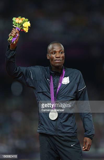 Silver medalist Nijel Amos of Botswana poses on the podium during the medal ceremony for the Men's 800m on Day 13 of the London 2012 Olympic Games at...
