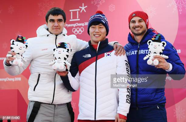 Silver medalist Nikita Tregubov of Olympic Athlete from Russia gold medalist Sungbin Yun of Korea and bronze medalist Dom Parsons of Great Britain...