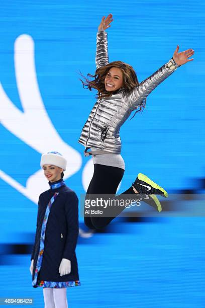 Silver medalist Noelle PikusPace of the United States celebrates on the podium during the medal ceremony for the Women's Skelton on day 8 of the...