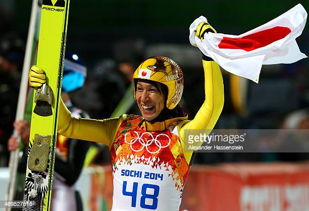 Silver medalist Noriaki Kasai of Japan celebrates with the Japanese national flag after the Men's Large Hill Individual Final Round on day 8 of the...