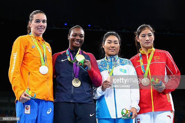 Silver medalist Nouchka Fontijn of the Netherlands gold medalist Claressa Maria Shields of the United States and bronze medalists Dariga Shakimova of...