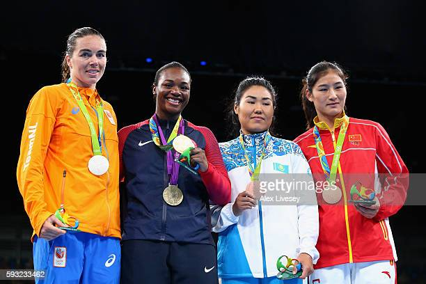 Silver medalist Nouchka Fontijn of the Netherlands, gold medalist Claressa Maria Shields of the United States and bronze medalists Dariga Shakimova...