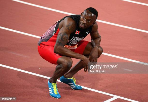 Silver medalist of Jereem Richards of Trinidad and Tobago looks on after the Men's 200 metres final during athletics on day eight of the Gold Coast...