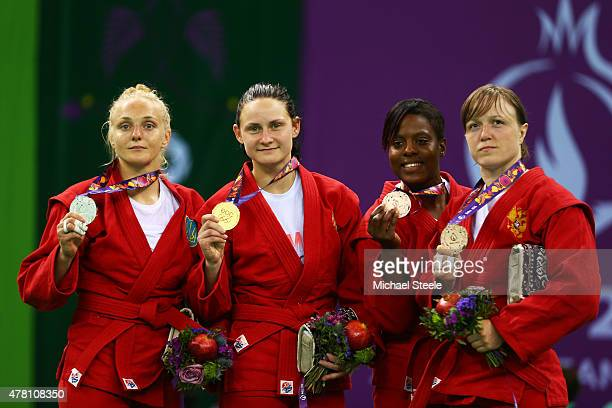Silver medalist Olena Sayko of Ukraine gold medalist Tatsiana Matsko of Belarus and bronze medalists Sarah Loko of France and Anna Shcherbakova of...