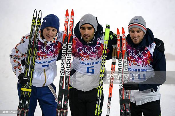 Silver medalist Ondrej Moravec of Czech Republic gold medalist Martin Fourcade of France and bronze medalist Jean Guillaume Beatrix of France pose...