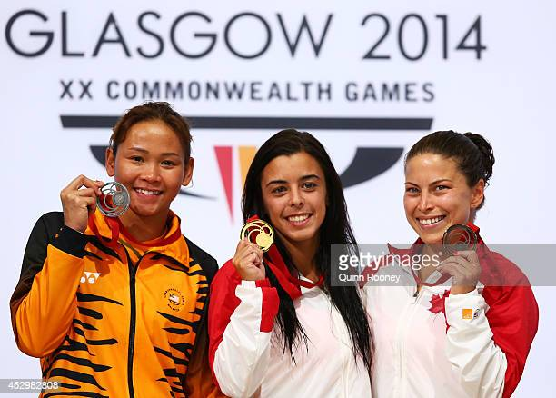 Silver medalist Pandelela Rinong Pamg of Malaysia gold medalist Meaghan Benfeito of Canada and bronze medalist Roseline Filion of Canada pose during...