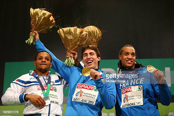 Silver medalist Paolo Dal Molin of Italy Gold medalist Sergei Shubenkov of Russia and bronze medalist Pascal Martinot Lagarde of France pose during...