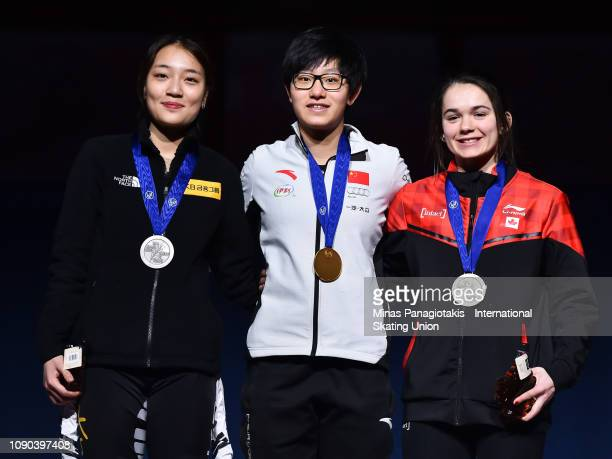 Silver medalist Park Yoon Jung of Korea gold medalist Li Jinyu of China and bronze medalist Claudia Heeney of Canada stand on the podium together...