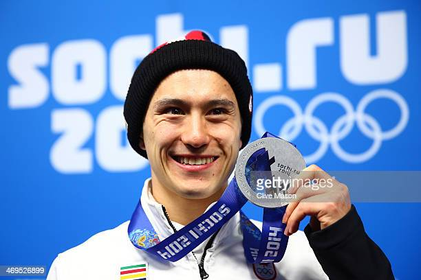 Silver medalist Patrick Chan of Canada celebrates during the medal ceremony for the Men's Figure Skating on day 8 of the Sochi 2014 Winter Olympics...
